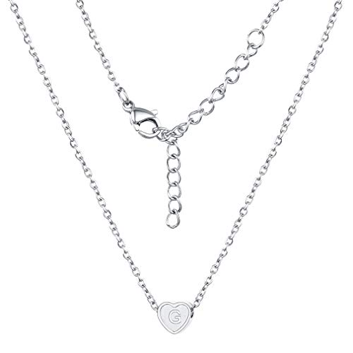 (FaithHeart Initial G Alphabet Heart Necklace, 316L Stainless Steel Personalized Dainty Letter Charms Choker, Minimalist Necklace for Women/Girls Bridesmaid)