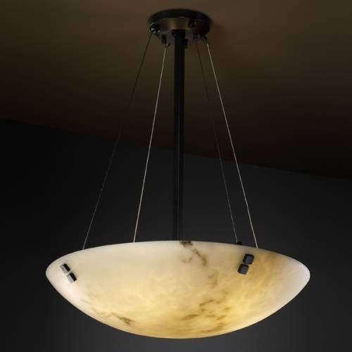 Justice Design Group LumenAria 8-Light Pendant - Matte Black Finish with Faux Alabaster Resin Shade