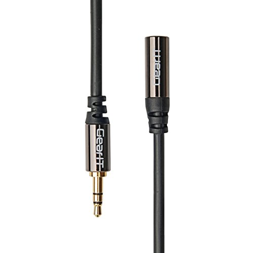 6ft 3.5mm Extension Cable, GearIT Pro Series Preminun Gold Plated 6 Feet 3.5mm Auxiliary Audio Stereo Extension Male to Female Cable, Black