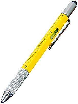 Bolígrafo de regalo publicitario personalizado Herramienta de destornillador Six-In-One Pluma Nivel de escala Bolígrafo de metal multifunción - Amarillo