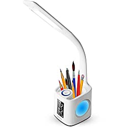 Gerintech LED Desk Lamp with USB Charging Port for Study, Dimmable Hue Table Lamp with Clock, Color Changing Base, Touch Dimmer, Pen Holder, Thermometer, Calendar (10)