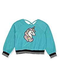 Beautees Girls' Sporty Unicorn Flip Sequin Sweatshirt