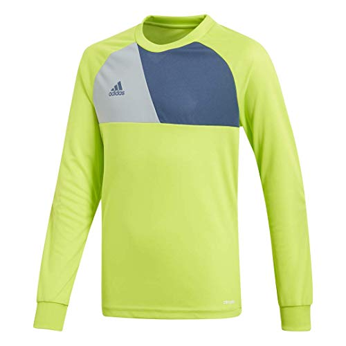 adidas Kids Youth Soccer assita 17 Goalkeeper Jersey, Solar Slime/Night Marine/Light Grey, Medium Adidas Youth Football Jerseys