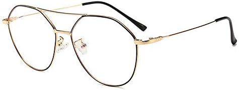 LIUYALE Männer/Frauen-Ultra Light Protect Augen stark und robust Anti-Ermüdung der Augen mit hohen Dichte Retro Double Beam Glas-Rahmen Brillenfassungen (Color : Gold/Black)