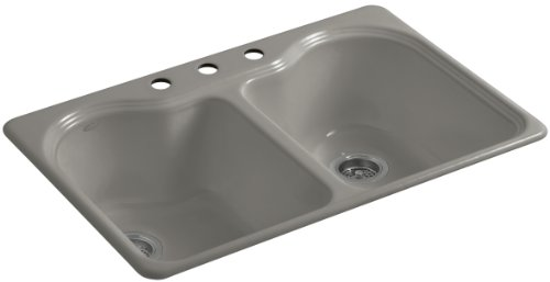 Kohler K-5818-3-K4 Hartland Self-Rimming Kitchen Sink with Three-Hole Faucet Drilling, - Cashmere Self Bowl Rimming