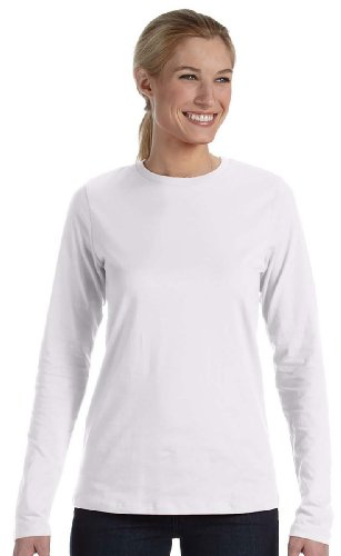 Bella Ladies Long Sleeve Crew Neck Jersey T-Shirt, White, Large