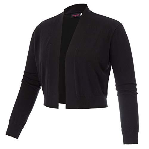 Womens Long Sleeve Short Cardigan Open Front Knit Cropped Bolero Shrug Black 16W from Hanna Nikole