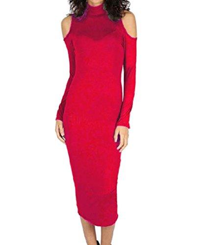 Del Collo Slim Rosso Spalla Alta Puro Tagliato Vestito Colore donne Fit Midi Coolred 0fgSYY