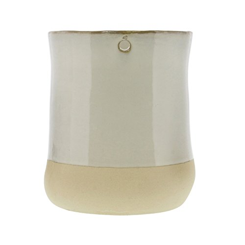 Rustic Two Tone White Ceramic Hanging Vase | Wide Wall Planter (Porcelain Pocket Wall)