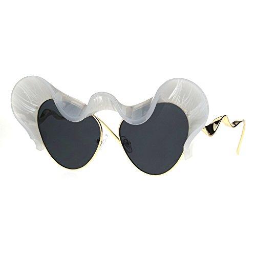 Womens Sunglasses Super Unique Wavy Cloud Top Cateye Frame UV400 Frost - White Glasses Cloud