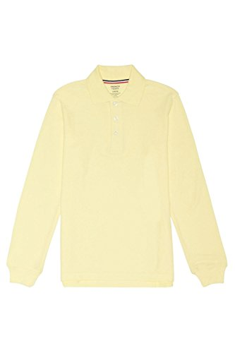 French Toast Big Boys' Long-Sleeve Pique Polo Shirt, Yellow, Large/10-12