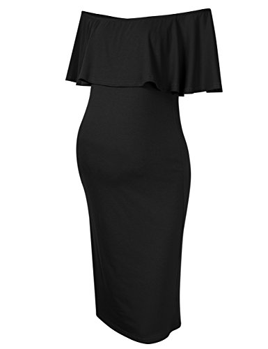 Review MissQee Women's Maternity Dress Off Shoulder Casual Maxi Dress (S, Black)