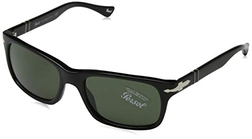 Persol PO3048S Sunglasses 95/31 Black/Crystal Green Lens ()