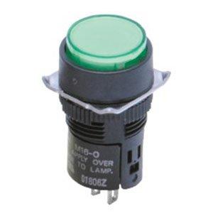 (Omron M16-JG-24D Cylindrical Indicator Display and Socket, Solder Terminal, 16mm Diameter, LED Lighted, Rectangular, Green, 24 VDC Rated Voltage)