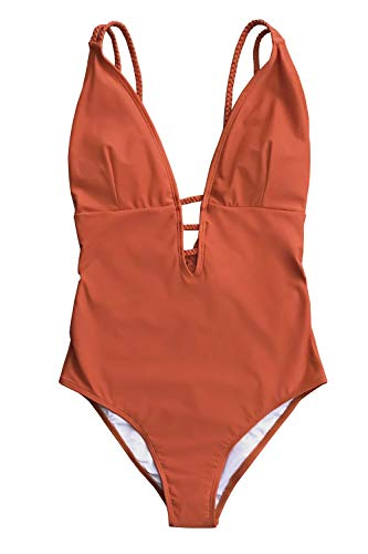 CUPSHE Women's Orange Braided Strap One Piece Swimsuit Medium