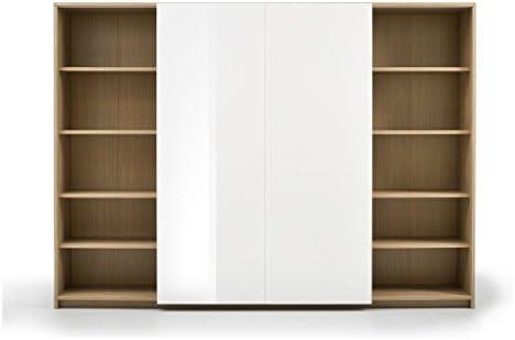 Mobile Pared Puerta TV con 2 Puertas correderas de Roble y Blanco Lacado cm 220 x 46 x 160 cm colección Diurna Marina: Amazon.es: Hogar