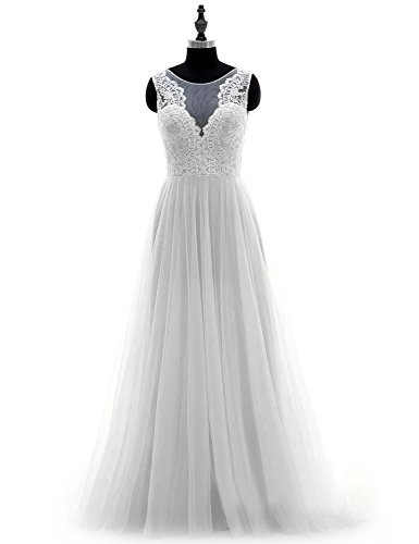 PLMS V Neck A Line Wedding Dress Women's Tulle Sleeveless Bridal Gown WT22 Bridal Dresswedding Gown