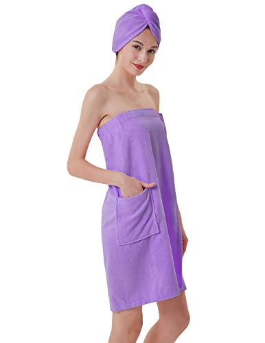 Women Spa Bath Body Wrap with Tape Bathrobe for Winter Purple M ()