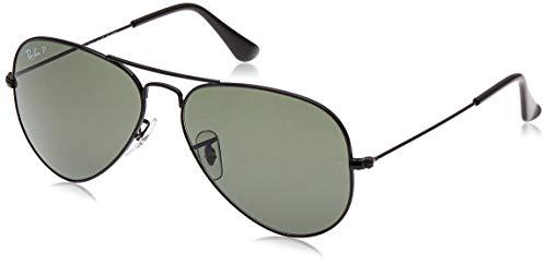 Ray-Ban RB3025 Aviator Polarized Sunglasses, Black/Polarized Green, 58 mm (Ray-ban 58mm Aviator)