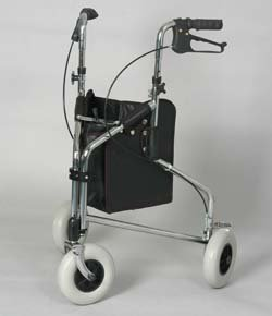 "rollator walker - Dark Blue. This 3-wheel rollator has 8""..."