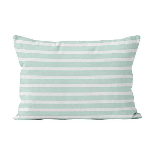 Sokiiy Mint Green White Striped Lines Beautiful Summer Hot Hidden Zipper Home Decorative Rectangle Throw Pillow Cover Cushion Case Lumbar 12x24 Inch One Side Design Printed Pillowcase