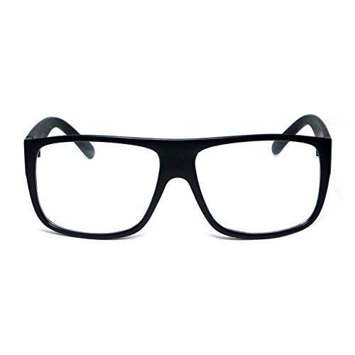 RETRO Mob Flat Top Unisex Square Frame Clear Lens Eye Glasses (Black Matte, - Latest Eyeglasses 2016 Styles