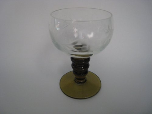 Gold Amber Ribbed Stem Crystal Glass with Ething 3