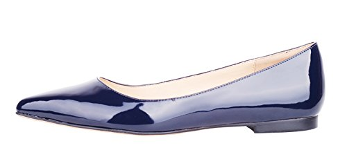 Patent Ballerina Pumps (queenfoot Women's Pointed Toe Simple Styles Genuine Leather Comfortable Ballet Flats Casual Pumps Shoes Navy Patent 8 B(M) US)