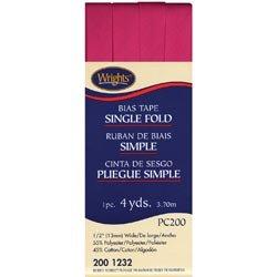 Wrights Bulk Buy Single Fold Bias Tape 1/2 inch 4 Yards Berry Sorbet 117-200-1232 - Wrights Single Fold Bias Tape