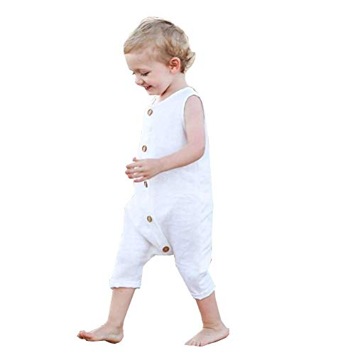 CKLV Baby Solid White Rompers with Button Kids Sleeveless Playsuit Jumpsuits One-Piece Pants Cotton Clothing (White, 18-24 Months) ()