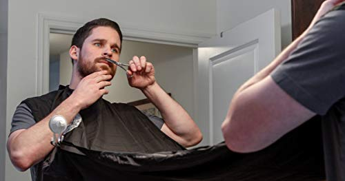 Beard Trimming Apron and Shaving Bib - Shaping Tool Made Of Premium Sandalwood Included. The Perfect Beard Catcher Kit. Achieve The Look You Desire With Less Mess. Buy For Real Men With Real Beards.
