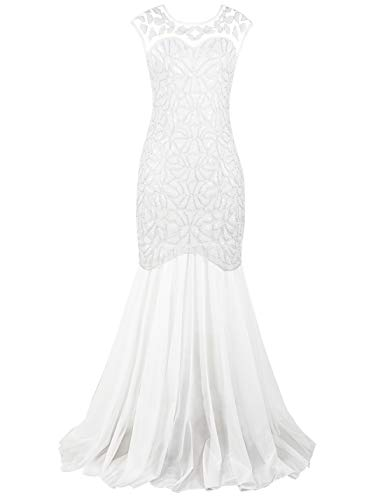 PrettyGuide Women 's 1920s Art Deco Sequin Gatsby Formal Evening Prom Dress L White