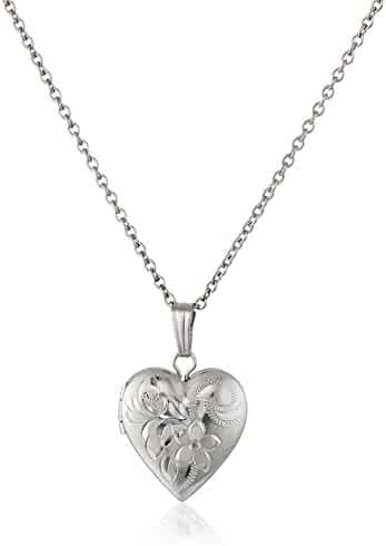 Children's Sterling Silver Hand-Engraved Heart Locket Necklace, 15