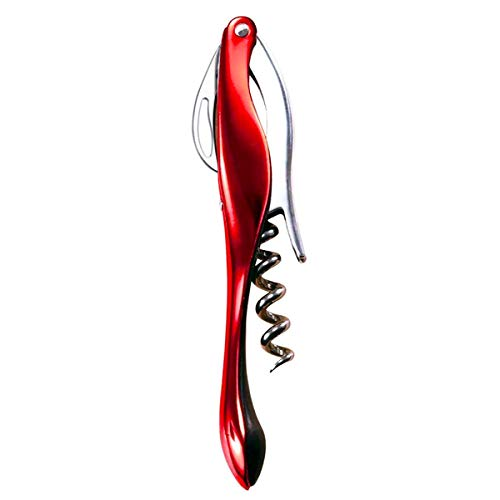 AOCTEK Waiters Corkscrew, Professional Stainless Steel Wine Opener with Foil Cutter, Easy Single Pull Wine Bottle Opener, Shiny Red