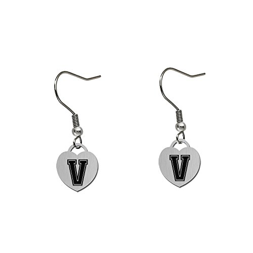 Vanderbilt University Commodores Satin Finish Small Stainless Steel Heart Charm Earrings - See Model for Size Reference