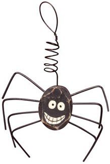 Happy Spider Wooden Ornament Curly Wire Hanger Country Primitive Halloween Décor ()