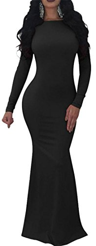 Sexy Maxi Long Women's Dress Cromoncent Sleeve Bodycon Black Mermaid Backless q1w6SI