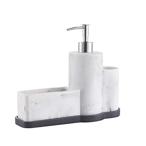 ZCCZ Soap Dispenser with Sponge Holder Brush Holder, Marble Pattern Kitchen Dish Soap Dispenser Pump Bottle Caddy Set Sponge Caddy for Kitchen Sink Bathroom Countertop