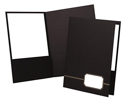 Oxford Monogram Executive Twin Pocket Folder, Black/Gold, Letter Size, 4 per Pack (Stock Twin Pocket Portfolios)