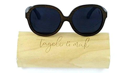Tageli & Mak Bamboo Wooden Sunglasses, Polarized, Womens Designer - Frame Specs Wooden