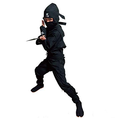 Halloween Children's Ninja Uniform/Martial Art Costume! Black/Red (L (3.94 ft~4.27 ft), Black)