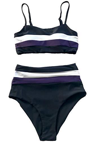 (CUPSHE Women's Stripe Reversible Bandeau Top High Waisted Bikini (Large (USA 12 14), Purple White))