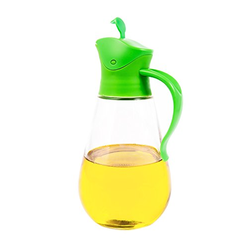 THRICH Non-Drip Glass Oil & Vinegar Container And Dispenser Bottle With Automatic Cap & Stainless Steel Nozzle, Leakproof,