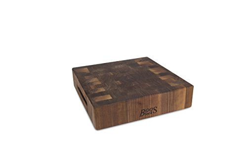John Boos Walnut Wood End Grain Reversible Butcher Block Cutting Board, 12