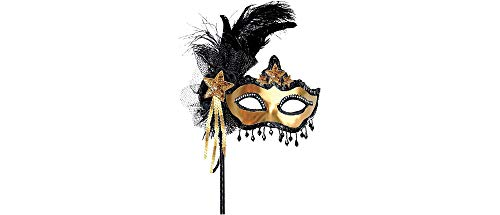 Black & Gold Venetian Masquerade Mask on a Stick 10in x 15in ()