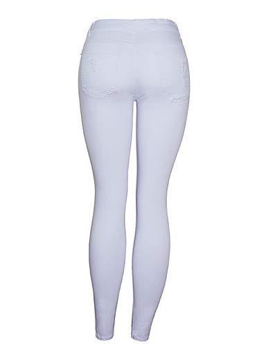 Tinta Eleganti Da Pantaloni Unita Jeans Yfltz Slim White Donna YgTFYqw