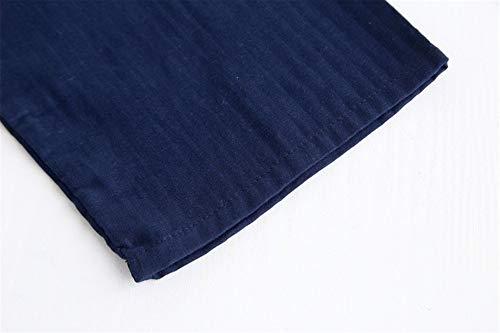 Kimono Homewear Sauna Set Uomo Giapponese Accappatoi Da Pigiama Per In Spa Nere Ytfoplk Blue Cotone m Maschile Camicie 5qfx6