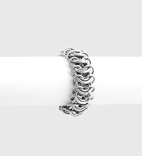 [Handmade Steel Chainmaille Ring (Stainless) for Men & Women, 11th Anniversary Gift Jewelry by] (Last Minute Costume Ideas For Guys)