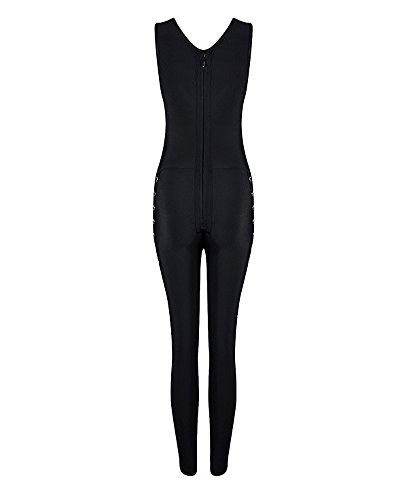 UONBOX Women' Sexy Cut Out and Crossover Front Bodycon Bandage Jumpsuit (XS, black1)