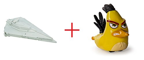 Star Wars: Episode VII The Force Awakens Micro Machines First Order Star Destroyer Playset and Angry Birds Speedsters Figure - Chuck - Bundle